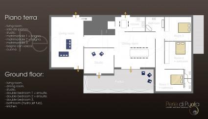 La villa si sviluppa su tre livelli