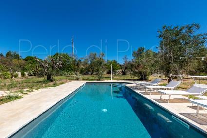 Accanto alla piscina vi è un solarium con lettini